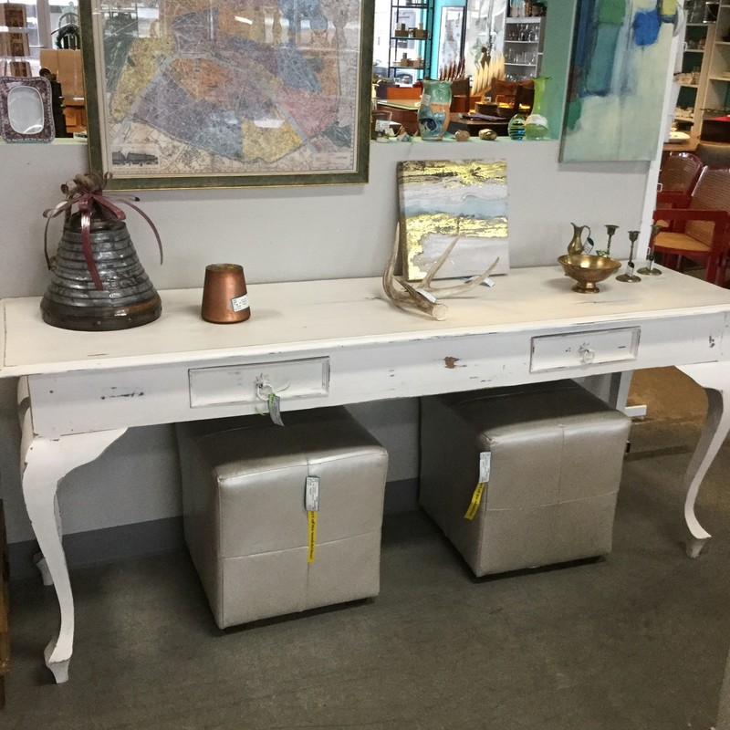 "Distressed White Console, Drawers, Size: 71""X20""X29"""