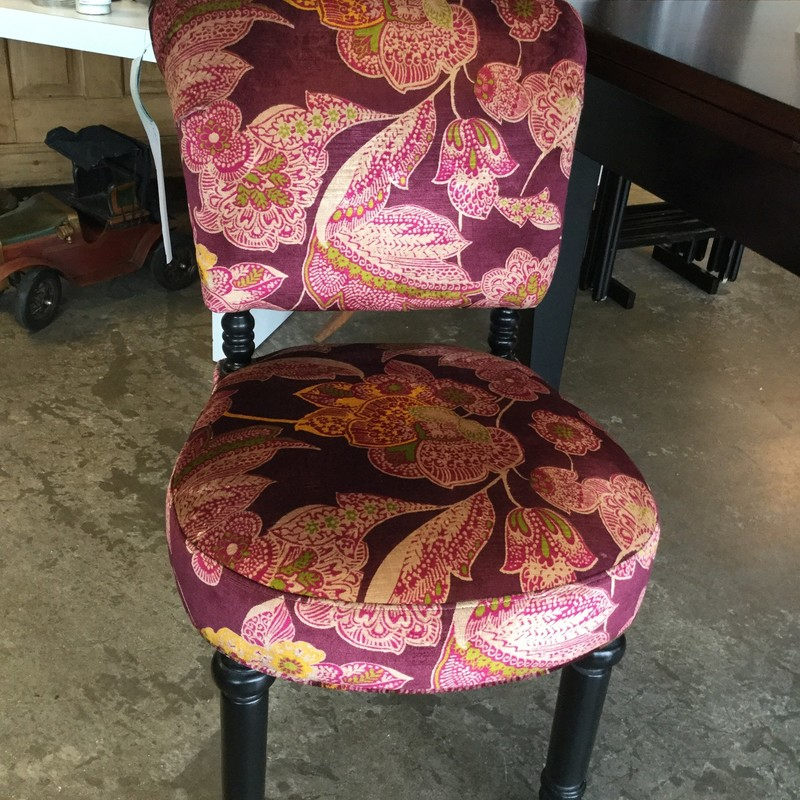 Upholstered Velvet Accent Chair, Red Floral