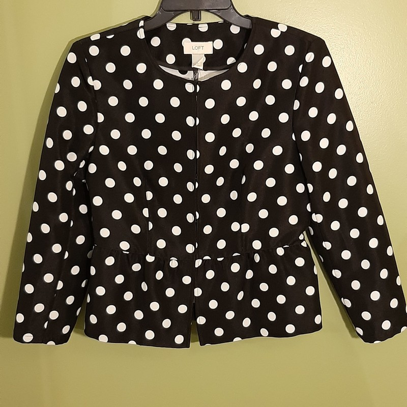 Great suit jacket from Loft. Black with white dots and a peplum waist.