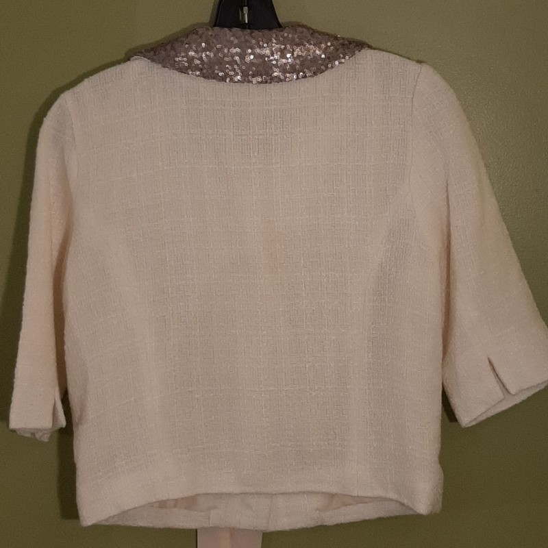 Monteau 3/4 Sleeve Cardigan Jacket in Ivory. Size: M<br /> Sequin at collar and a romantic ribbon tie at neck.