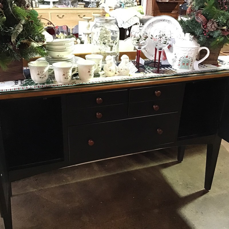 "This two-tone dining room set includes the following:<br /> - Dining Room Table with 2 Leaves<br /> - 2 Captain Chairs<br /> - 4 Side Chairs<br /> - Server with Protective Glass Top<br /> - 2 Piece Lighted China Cabinet<br /> The dining table extends to 96"" when both leaves are inserted, which makes it a great holiday table! The server has 3 drawers and 2 cabinets for plenty of storage. The two-piece china cabinet is lighted on the top and has two doors and 2 drawers. The bottom has 3 drawers (one has a spot for silverware) and 2 cabinets with interior shelves.<br /> Dimensions:<br /> Dining Table without Leaves - 64"" x 42"" x 30""<br /> Dining Table with Leaves - 96"" x 42"" x 30""<br /> Server - 56"" x 16"" x 34-1/2"" (plus 2"" backsplash)<br /> China Cabinet - 53-1/2"" x 18"" x 78"""