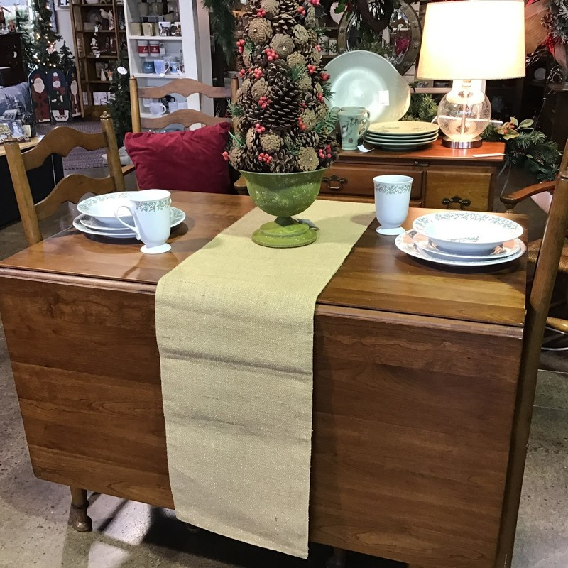"Are you looking for a vintage table & chair set that is extremely well-made? Look no further than this Stickley set! The table is drop-side, so perfect for a smaller space but opens up for entertaining! The set includes 6 chairs, 2 captain's and 4 side, with rush seats and ladder-backs. Awesome set!<br /> Table Dimensions with sides down are 29-1/2"" x 44"" x 30""<br /> Table Dimensions with sides up are 71"" x 44"" x 30"""