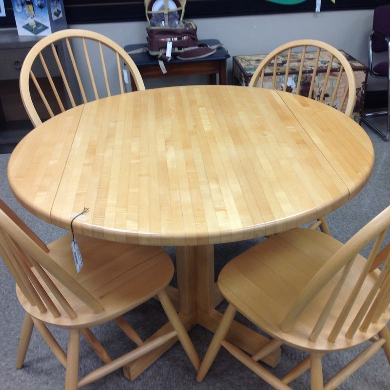 Drop Leaf W/4 Chairs, Pine, Size: 42 Inch