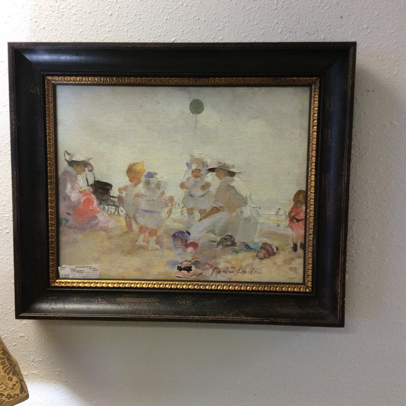 This is stunning!! An oil by Martha Walter, she was an American Impressionist painter. She is best known for her impressionistic depictions of beach scenes, portraits and landscapes. This scene of small girls at the beach is almost ethereal. The frame is a stark contrast to the soft, muted colors of the oil but it works. This picture of it won't do it justice, you need to come in and see it!