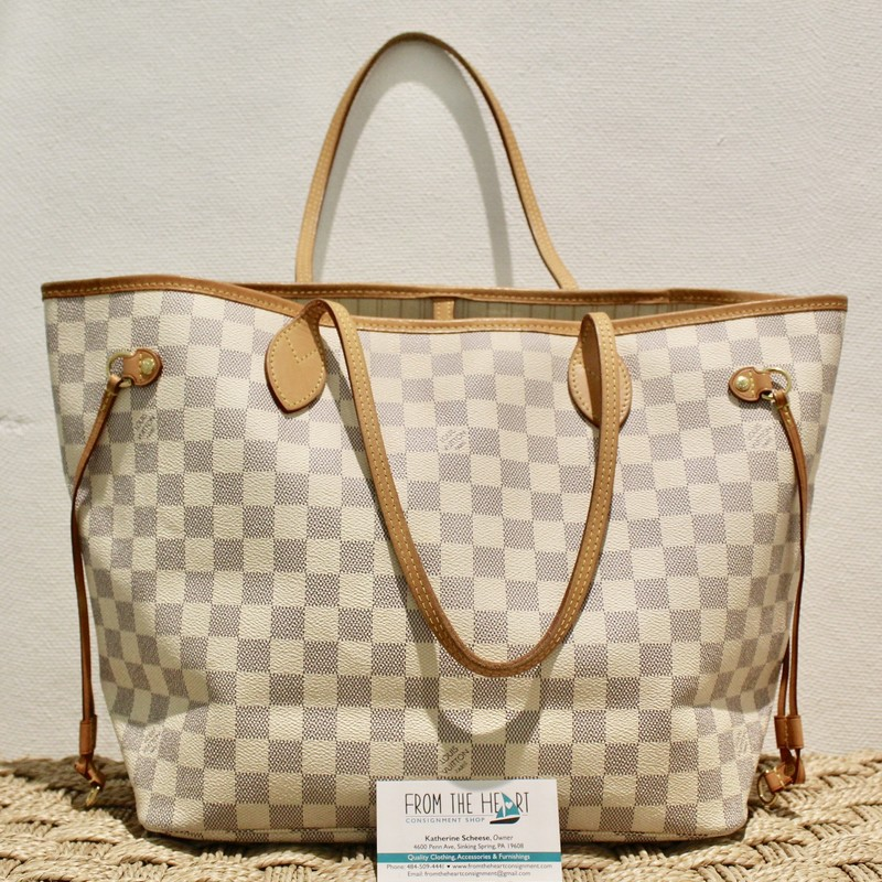 Louis Vuitton Never-Fill, DamAzur, Size: . Certificate of Authenticity included, Light stains on bottom inside