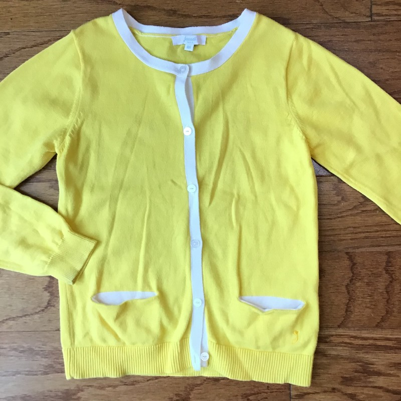 Jacadi Cardigan, Yellow, Size: 7<br /> <br /> <br /> TAGGED 8A BUT LOOKS LIKE IT RUNS SMALL. MORE LIKE A FITTED 7.<br /> <br /> <br /> ALL ONLINE SALES ARE FINAL. NO RETURNS OR EXCHANGES.
