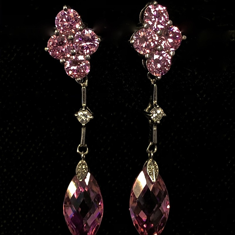 Earrings 925 Pink Rhinestone.