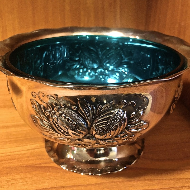 Bowl Prima Swedish with Insert, Silverplate & Glass. Size:6x3