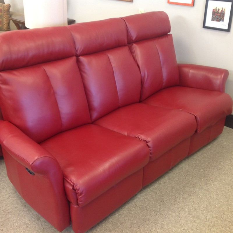 Elran Leather Elec Reclin, Red, Size: 76 Inch