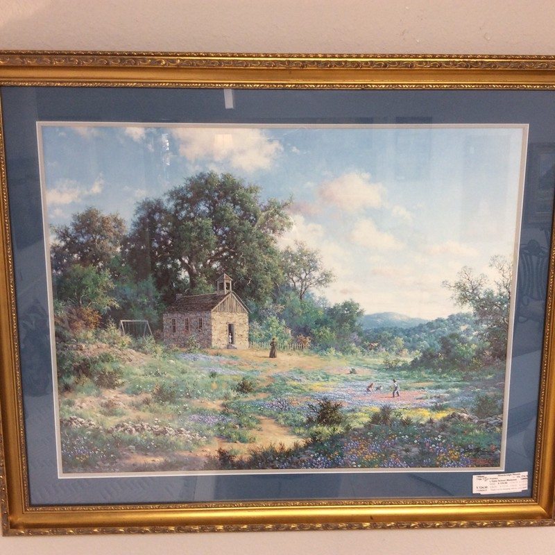 This is a beautiful piece of art! The scene depicts an old time schoolhouse, with children playing in a meadow of Bluebonnets and Indian Paintbrush, while their teacher watches them. This is a LARRY DYKE painting, and it is signed by the artist.