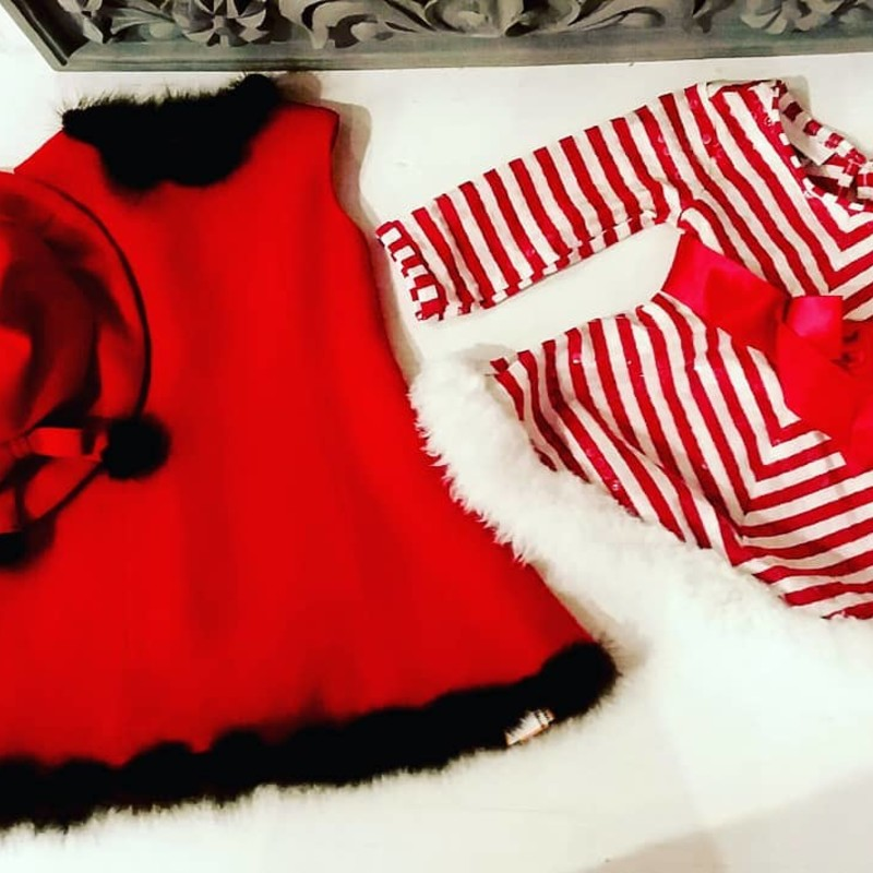Bonnie Baby Holiday Dress<br /> Red/White Stripe<br /> Listing is for striped dress on right only.<br /> <br /> Size: 12 Months