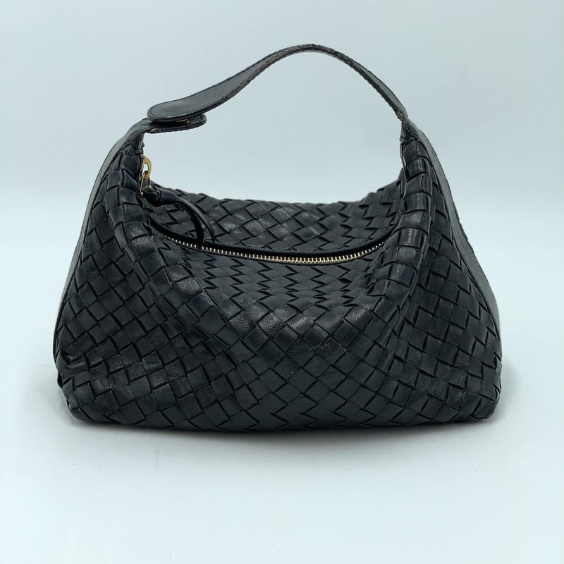 "Bottega Venetta Mini, Black, Size: S<br /> <br /> condition: FAIR. Wear on edges, cracking on strap, interior discoloration<br /> <br /> 9.5""W x 5.5""H x 4""W<br /> 2.5"" handle drop<br /> <br /> We guarantee the authenticity of every bag on our site. Each bag comes with either an original sales receipt or a Certificate of Authenticity from AuthenticateFirst.com. Established in 2013, AuthenticateFirst.com<br /> (http://authenticatefirst.com) is one of the premier authentication services in the US, providing authentications of designer handbags, wallets, small leather goods, footwear, jewelry, and accessories. They employee in-house experts who have decades of experience working with hundreds of luxury brands."