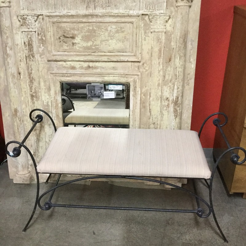 "Iron Scroll Bench, Iron Legs, Cream Cushion, Size: 45""X16""X22"""