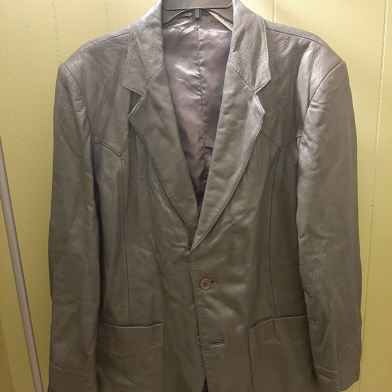 Kenny Rogers Leather Collection by Schott NYC.<br /> 3 button leather blazer in medium gray. Embossed design at back & front yoke, front pockets and cuffs.<br /> <br /> Expect for some wrinkles from storage the blazer is in excellent condition.