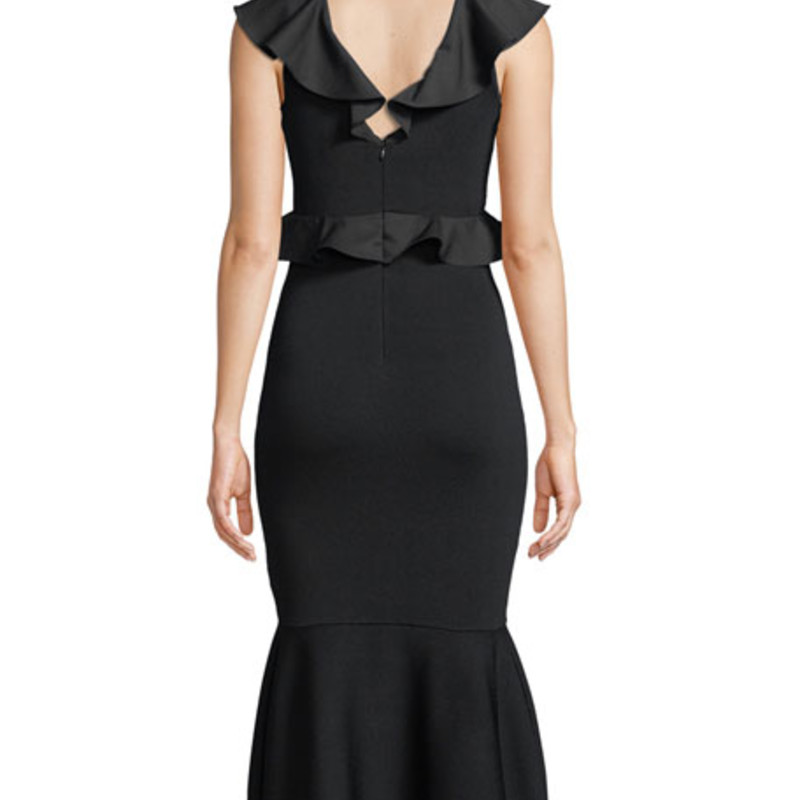 "NWT Sachin & Babi Usenmek Ruffled V-Neck Peplum Dress in Black, size Med. Orig. rtl: $395<br /> <br /> ""A fluted hemline and feminine ruffles add flirty touches to this curve-hugging knit dress.<br /> <br />     V-neck body-con knit dress with skirt flare and ruffles at arms and chest.<br /> <br />     Navy viscose knit<br /> <br />     Self: 63% Rayon 37% Nylon (China)<br /> <br />     Combo: 95% Polyester 5% Elastane (Italy)<br />     Fits true to size, take your normal size.""<br /> <br /> Photo and description credits: Orchardmile.com"