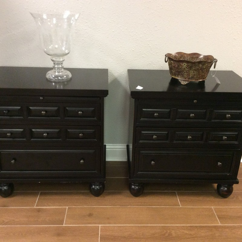"""BARGAIN ALERT!! Aren't these nightstands cute? They were originally purchased from PIER 1, and are in very good condition. They each feature 3 drawers, as well as a pull-out tray, and they have a painted black finish. Only $245 for the pair!"