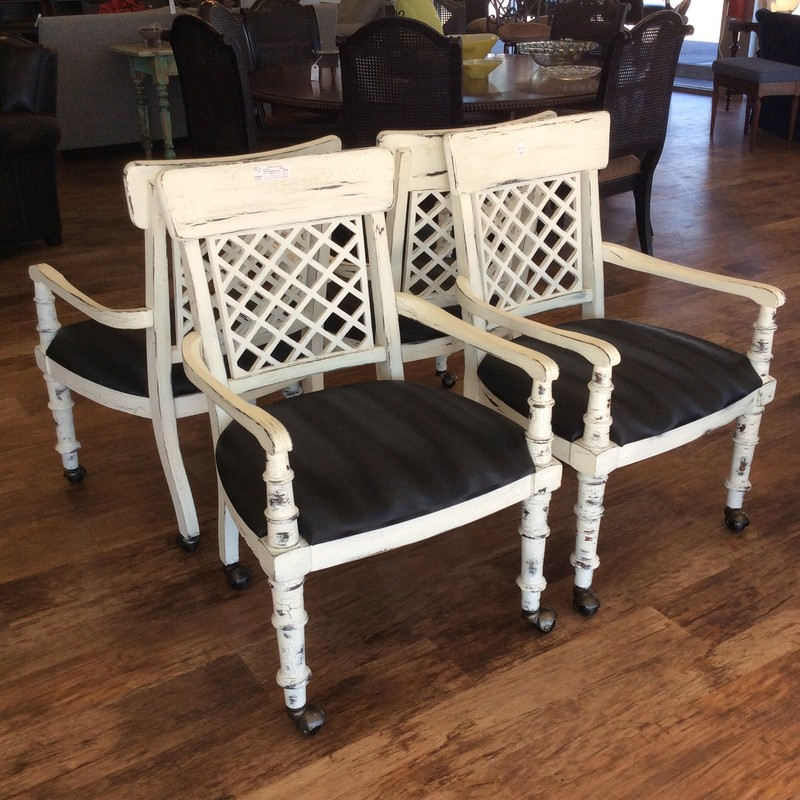 Wow, these are gorgeous, if you like a farm-housy look, that it. They are all made of solid wood and have an antique white finish. The seat cushions are covered in a durable black patterned vinyl. They are all on casters, too!!