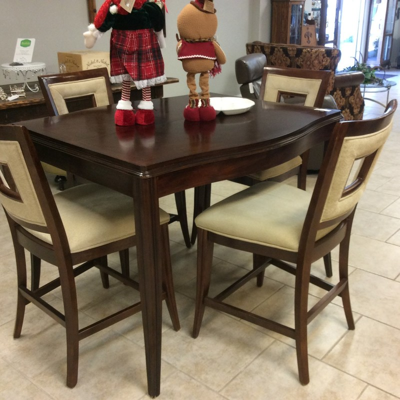 "BARGAIN ALERT!!!! This versatile little dinette set is priced to move at only $345!! It features solid wood construction and is in very good condition. The leaf is 18"" wide, and when it is inserted, the table measures 49""x62""! Hurry in, though, as I don't expect this set to be here for long."