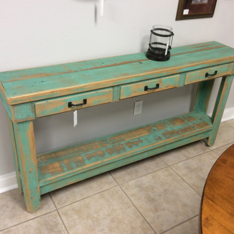 Isn't this sofa table adorable?? It would be cute in an entryway or even a bathroom, too. There are 3 faux drawers across the front, complete with hardware, and the rustic painted finish is a lovely shade of teal green.