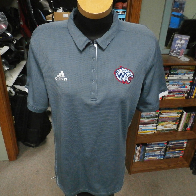 "Adidas grey women's athletic polo shirt size XL 100% polyester #30666<br /> Rating: (see below) 3- Good Condition<br /> Team: Woods Cross Wildcats<br /> Player: n/a<br /> Brand: Adidas<br /> Size: Women's XLarge- (Measured Flat: Across chest 22""; Length 27"")<br /> Measured Flat: underarm to underarm; top of shoulder to bottom hem<br /> Color: grey<br /> Style: short sleeve; embroidered<br /> Material: 100% polyester<br /> Condition: 3- Good Condition: minor wear; several light stains on front (see photos)<br /> Item #: 30666<br /> Shipping: FREE"