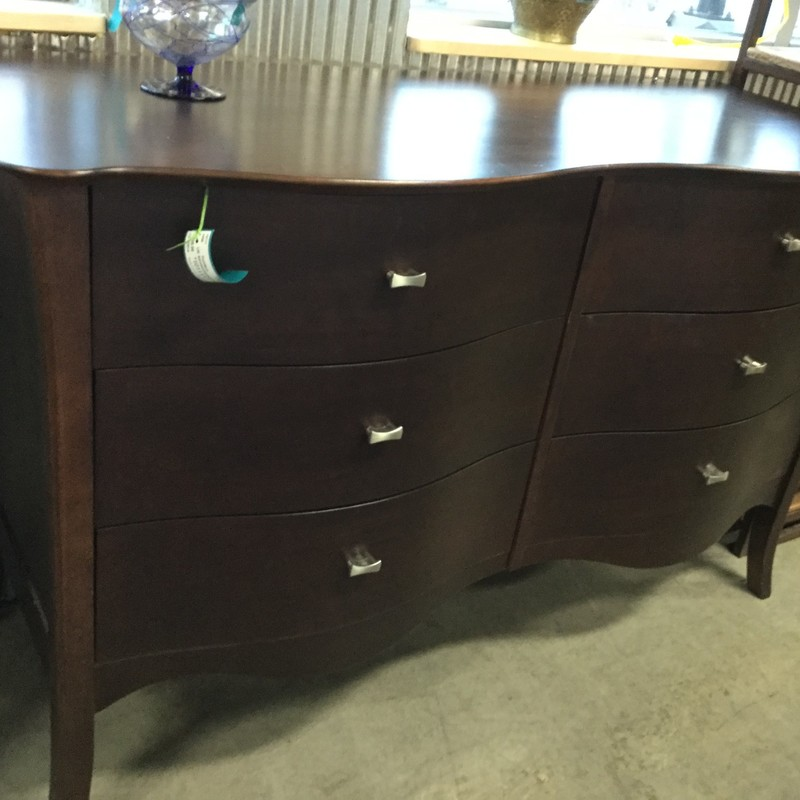"6 Drawer Dresser, Dark Brown, Size: 52"" X 21"" X 32"""