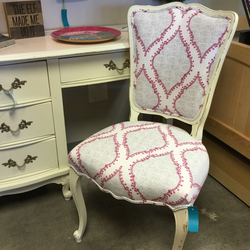 Upholstered Desk Chair, Grey & Pink, Wood Frame