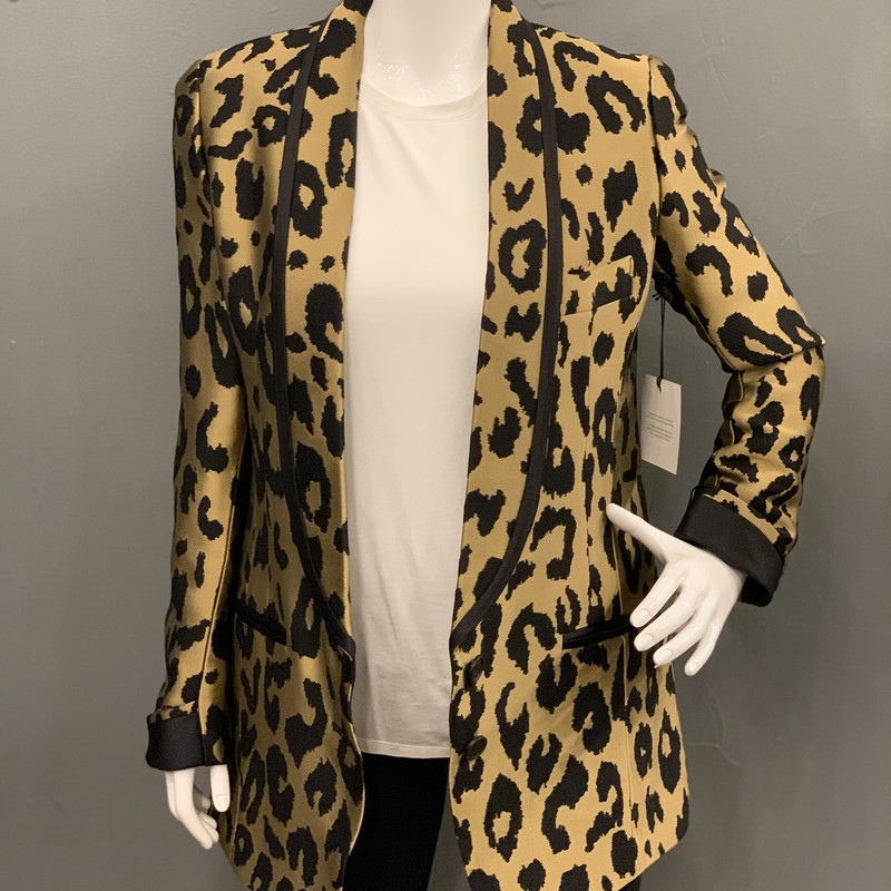 Smythe Salon Blazer, Gold, Size: 6<br /> <br /> 100% Viscose<br /> contrast: 59% Cotton, 41% Silk<br /> lining: 100% Cupro<br /> <br /> New With Tags<br /> Original Retail: $1195