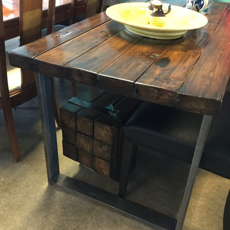"Table with Bench, Custom, Recycled Railroad Ties, Size: 60""X30""X31"""