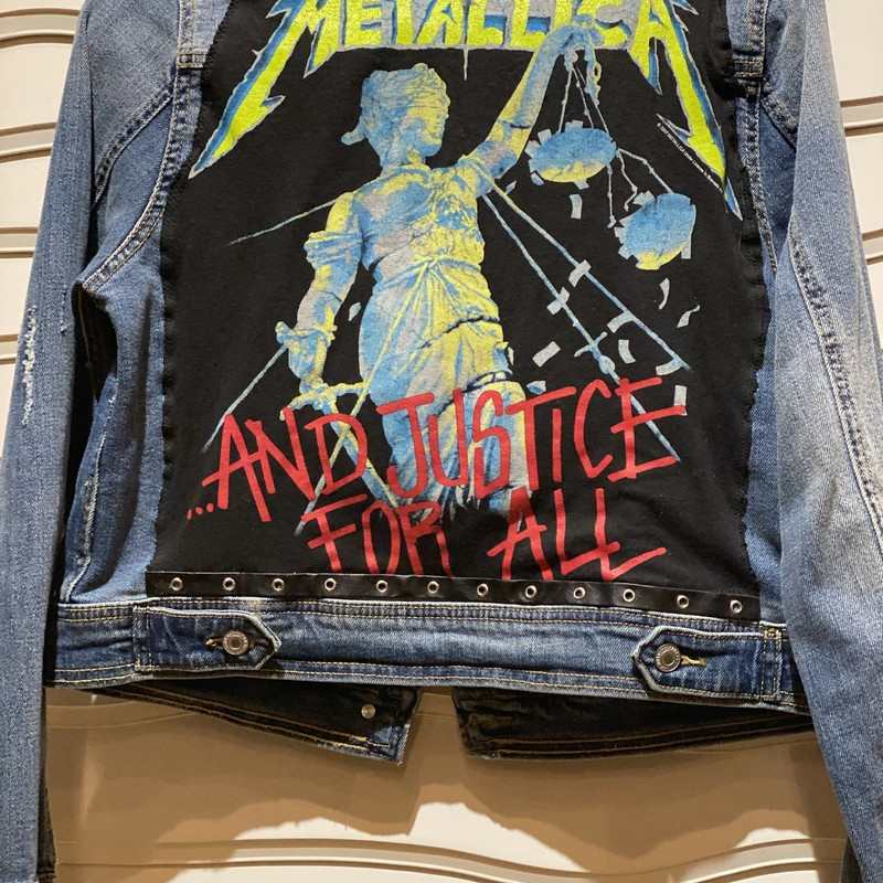 Metallica Upcycled Jacket, Blue, Size: Medium<br /> Vintage Tee Applied To Mossimo jean Jacket