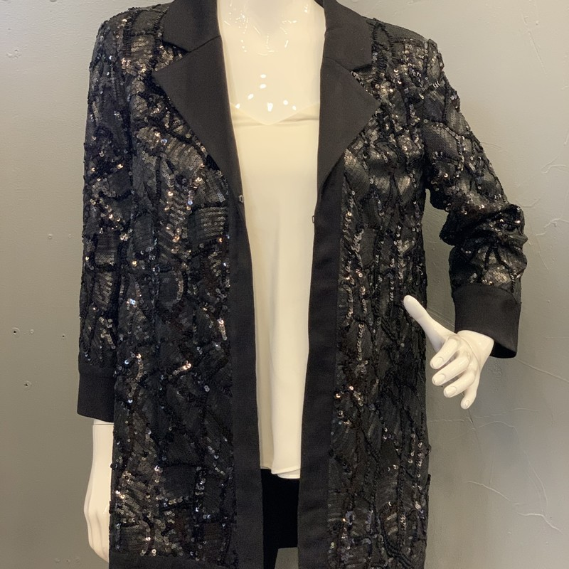 Misook Sequin Smoking, Black, Size: XS<br /> <br /> 90% Acrylic, 10% Polyester<br /> sequin: 95% Polyester, 5% Spandex<br /> lining: 97% Polyester, 3% Spandex<br /> <br /> New With Tags<br /> estimated retail: $418
