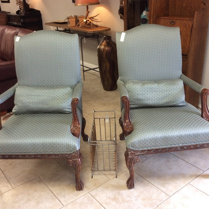 Aren't these FLEXSTEEL chairs gorgeous?? They features solid wood frames with a walnut finish and lots of pretty carved details. The upholstery is a lovely french blue brocade, with a muted maize and taupe pattern. Only $795 for the pair!