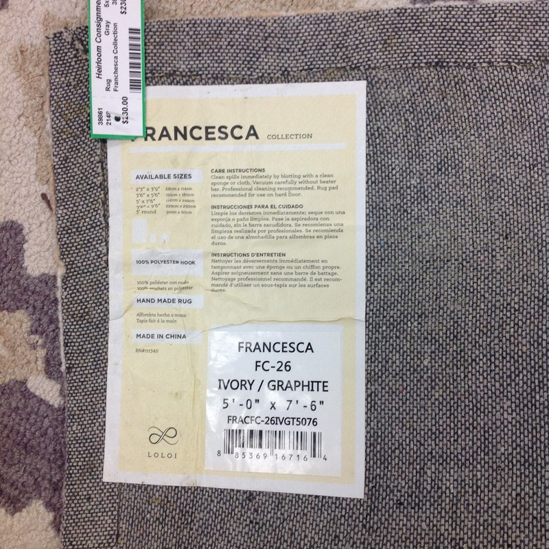 Franchesca Collection, Gray, Size: 5x7.6