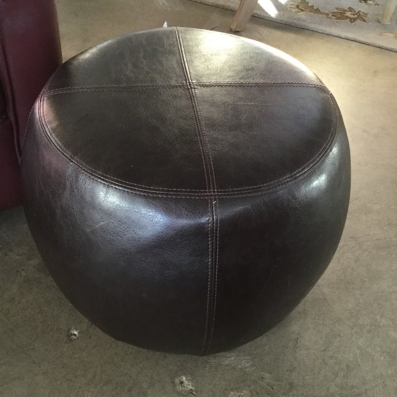 "Leather Ottoman, Brown, Size: 23"" Round X 17"" High"