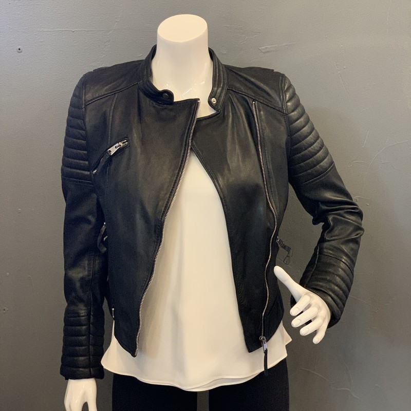 Zara Leather Moto, Black, Size: S<br /> <br /> 100% sheep leather<br /> lining: 100% polyester<br /> <br /> New With Tags<br /> Original Retail: 100 Euro