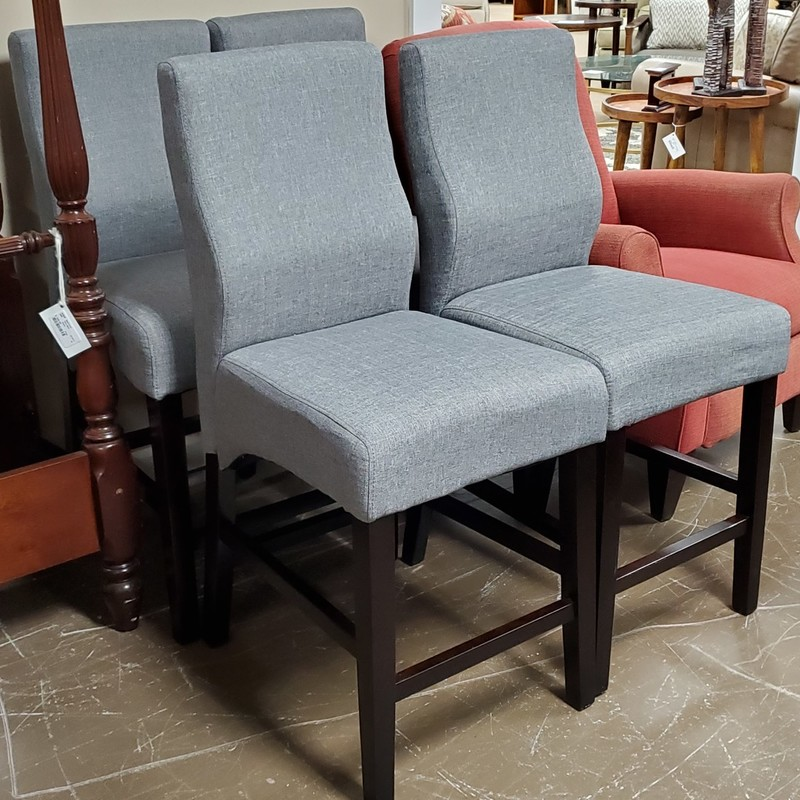 4 Counter Chairs, Grey, Size: 26""