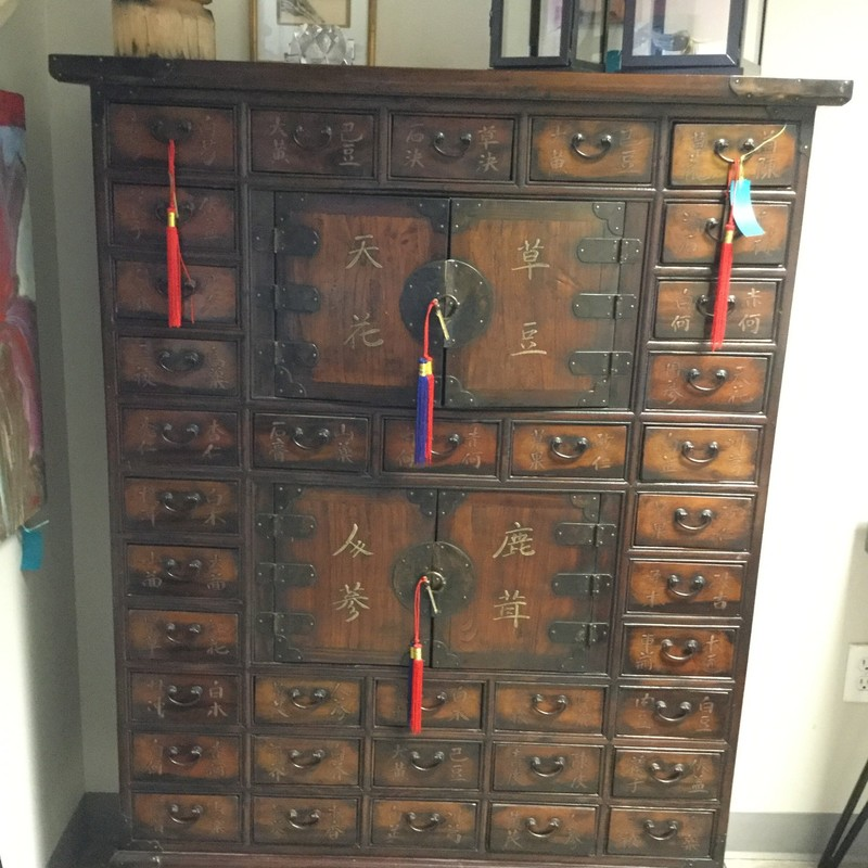 "Korean Apothecary Chest, Wood, Size: 41""X14.57""h"