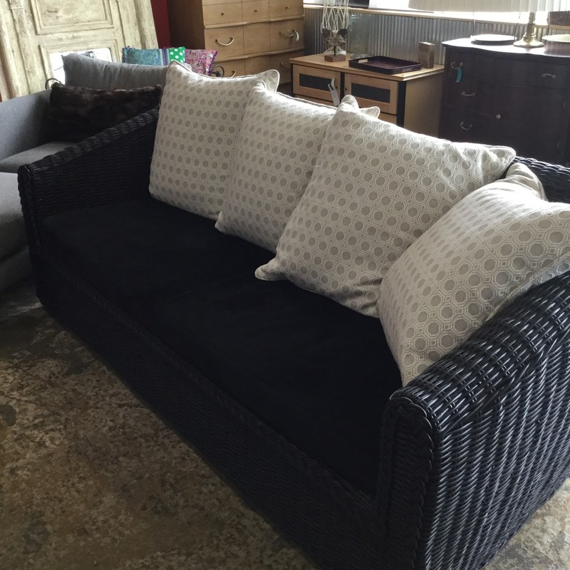 "Wicker Sofa, Black, Size: 79""X32""X37"""