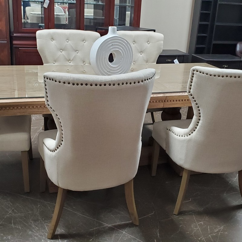 Set/6   Dining Chairs, Cream, Size: None