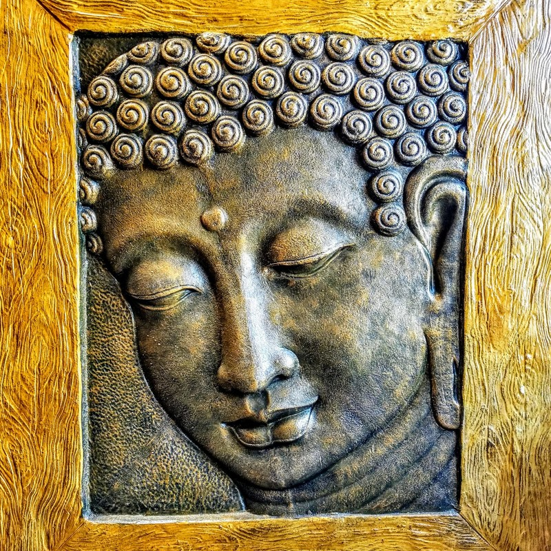 Monumental Buddha Panel reinforced with metal.  Serene countenance.  Size: 68x79