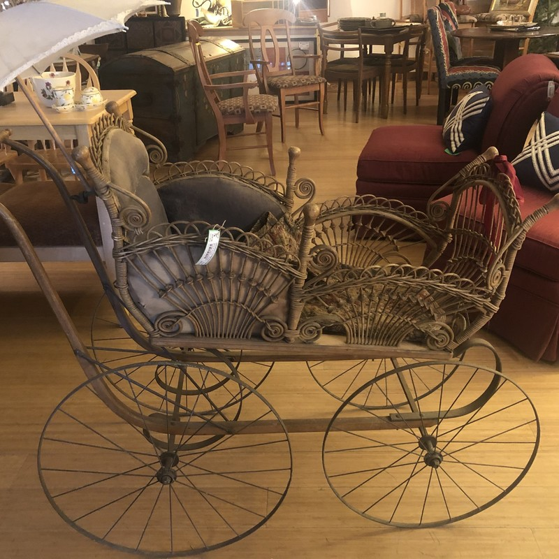 1800s Heywood WIcker Carriage with Parasol