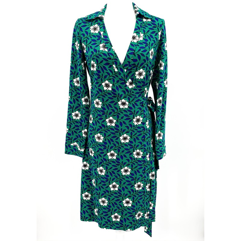 Diane Von Furstenberg blue, green, white print wrap dress NEW WITH TAGS