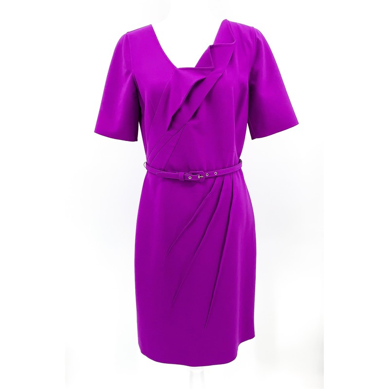 Oscar de la Renta purple gaberdine wool sheath dress