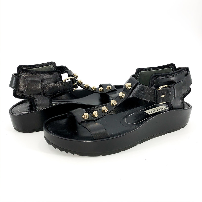 Balenciaga black leather sandals, with silver stud detail