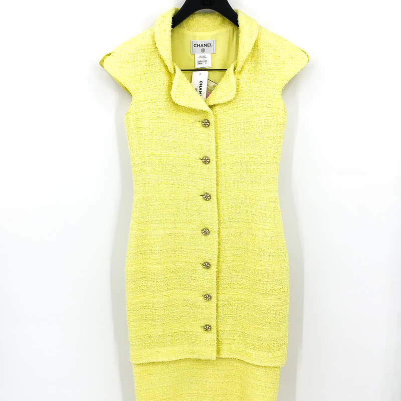 Chanel neon yellow tweedy sheath dress<br /> <br /> NEW WITH TAGS<br /> <br /> size 6