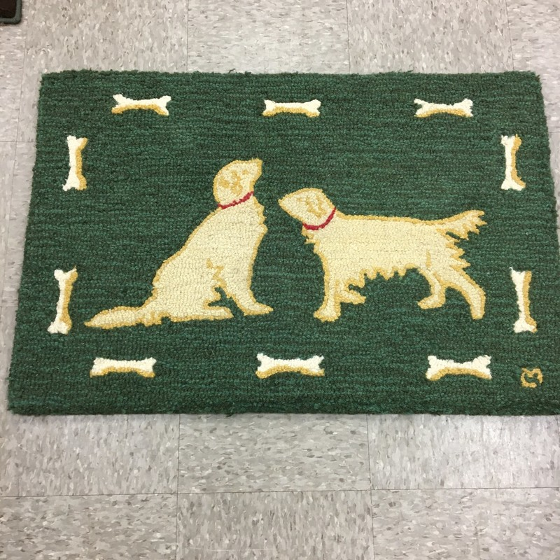 4 Corners Goldens Rug, Green, Size: 36x24