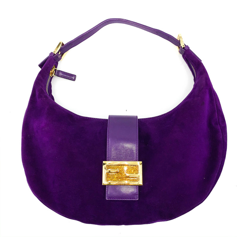 Fendi purple suede shoulder bag<br /> with yellow gold hardware, yellow glitter