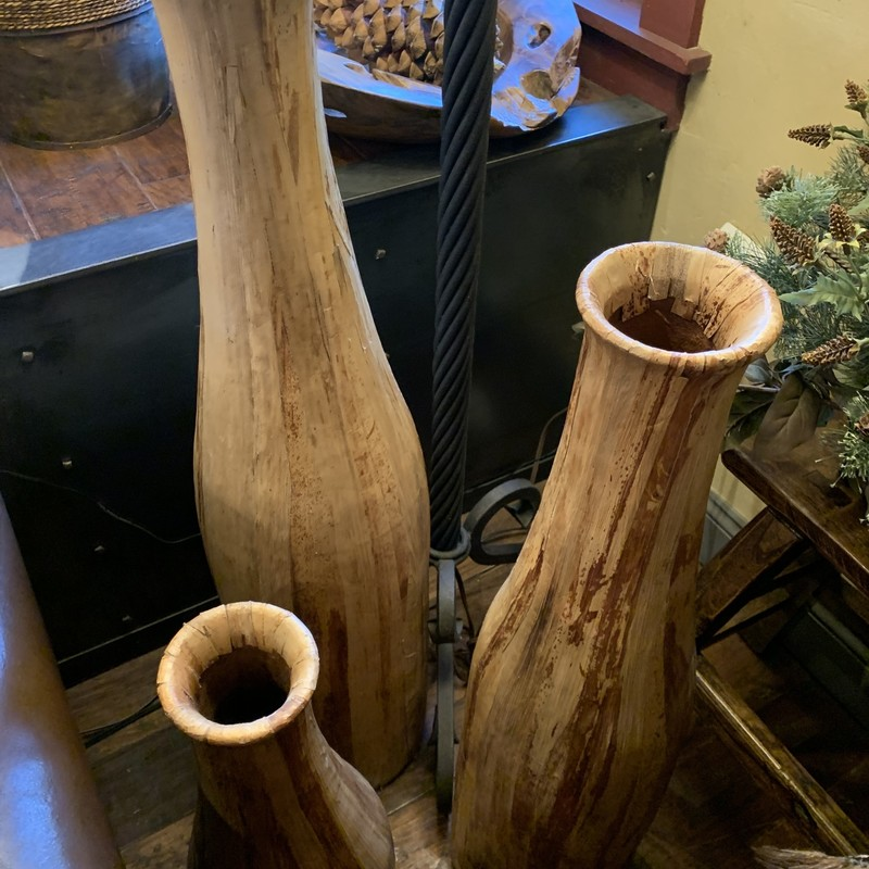 Wood Vases/ Set Of 3, None, Size: None