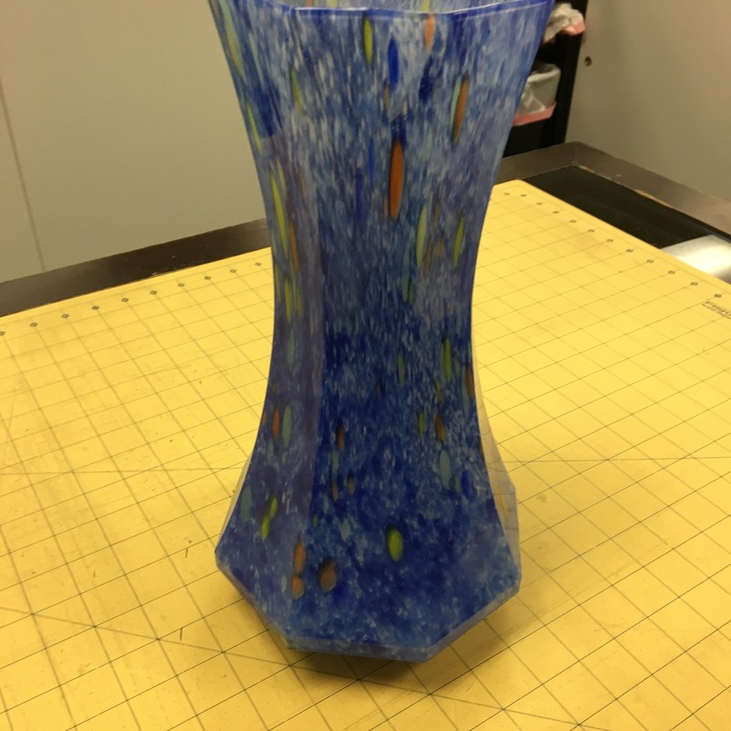 Fluted Glass Vase, Blue, Size: 12 Inch