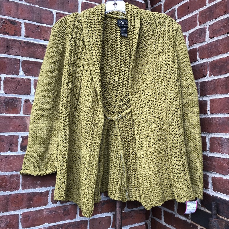 Pure Handknit Cardigan, Green, Size: S/M