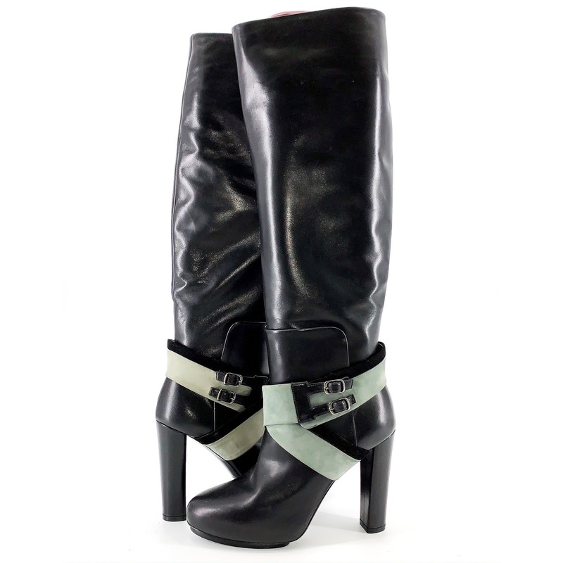Balenciaga black and grey tall boots